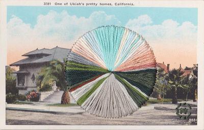 Natalie Ciccoricco, 'Pretty Home - Vintage Postcard of Suburban House with Blue + Pink Sky', 2019