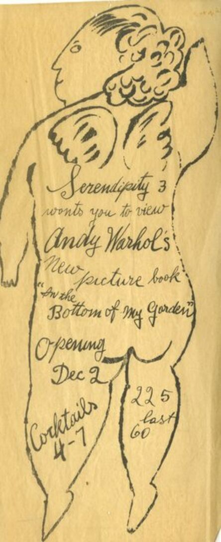 """Andy Warhol, 'Extremely rare, early hand made invitation to book launch of """"In the Bottom of My Garden"""" Serendipity 3', ca. 1954"""