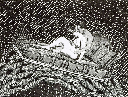 Stacey Steers, 'Phantom Canyon (lovers on bed over fish)'