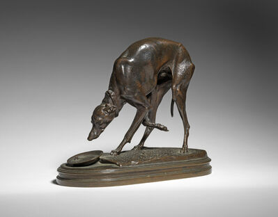 Henri-Alfred Jacquemart, '35. Italian Greyhound drinking from a Bowl, c. 1880', 1880