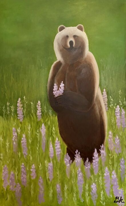 Gemma Kahng, 'Brown Bear with Wild Lupine', 2021