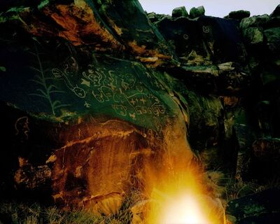 Steve Fitch, 'A Fire And Petroglyphs At Dusk Near San Cristobal Ruin, New Mexico, July 28', 1983