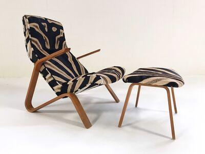 Eero Saarinen, 'Eero Saarinen for Knoll Grasshopper Chair and Ottoman Restored in Zebra Hide', ca. 1950