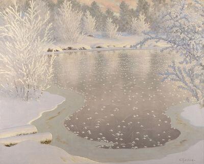 Gustaf Edolf Fjaestad, 'Sparkling Winter Landscape With Ice-Covered Lake'