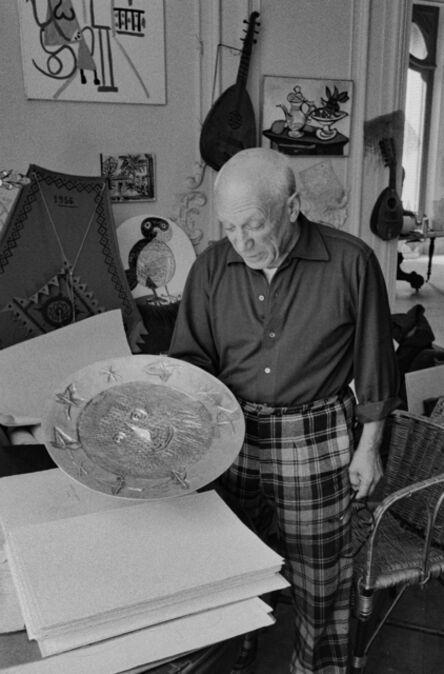 """Edward Quinn, 'Pablo Picasso with silver plate """"Visage aux feuilles"""". La Californie, Cannes ', 1957"""