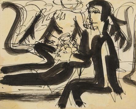 Ernst Ludwig Kirchner, 'In the Train: Albert Müller and Ernst Ludwig Kirchner', 1925-1926