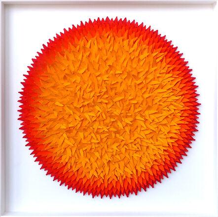 Volker Kühn, 'Blätterbild Rot und Gelbtöne', 2016