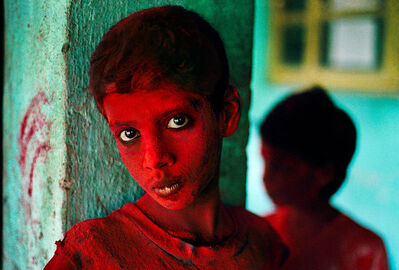 Steve McCurry, 'Boy covered in red powder participates in the festival of Ganesh Chaturthi, Bombay/Mumbai, India', 1996