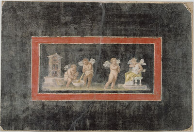 'Fresco Fragment with Cupids and Psyche Making Perfume',  third quarter of 1st century