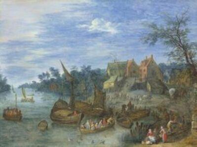 Josef van Bredael, 'A river landscape with boats by a village'