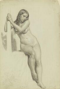 Daniel Huntington, 'Female Nude Perched on a Stool', 1858