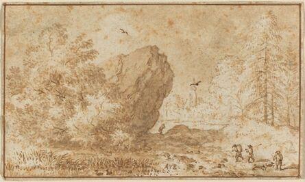 Allart van Everdingen, 'Landscape with Large Rock'
