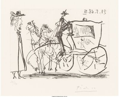 Pablo Picasso, 'Man Viewing Couple in Horse Drawn Carriage, from Series 347', 1968
