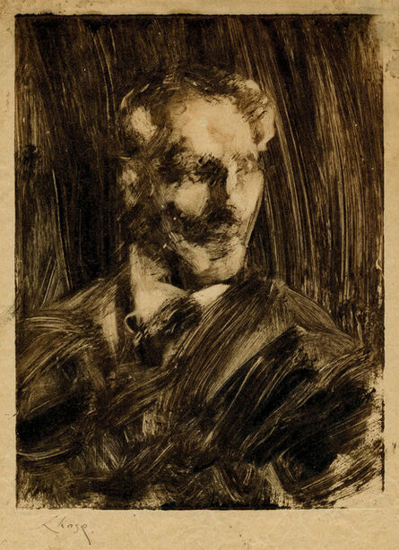 William Merritt Chase, 'Portrait of a Man Facing Left', Between 1880's and 1914