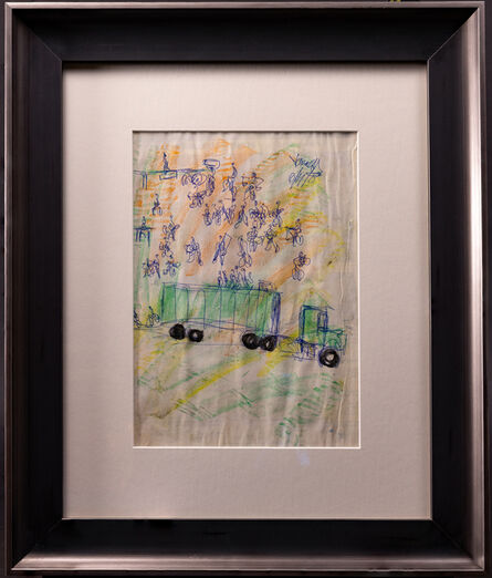 Purvis Young, 'Purvis Young Signed Original Crayon and Ink Dual Sided Truck Drawing Contemporary Art', 1970-2000