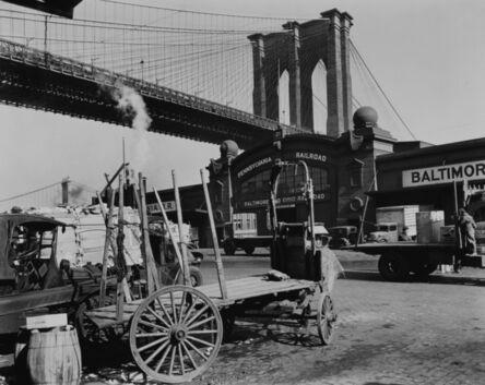 Berenice Abbott, 'South Street with Brooklyn Bridge, Pier 21, Pennsylvania Railroad, Manhattan', 1937