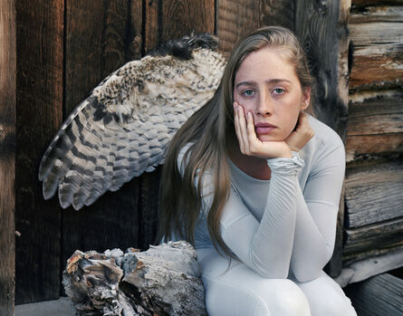 Laura McPhee, 'Wing of a Great Horned Owl Killed by a Gold Eagle, A Burl, My Daughter, Jerry Peak Wilderness, Idaho, 2015 1/5'