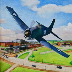 Daniel Ralph Celentano, 'FLIGHT American Futurism Modernism Scene WPA Mid-Century Oil Painting Realism', ca. 1940s