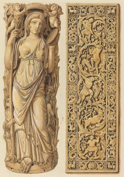 Herman Wilhelm Soltau, 'Renderings of an Ivory Carving of Ariadne from the 6th Century and an Ivory Plaque from the 9th Century'