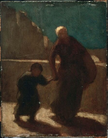 Honoré Daumier, 'On a Bridge at Night', Between 1845 and 1848