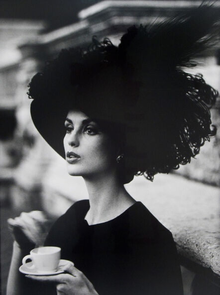 William Klein, 'Dorothy + feathered hat + coffee, Rome 1962 (Vogue)', 1962-printed later