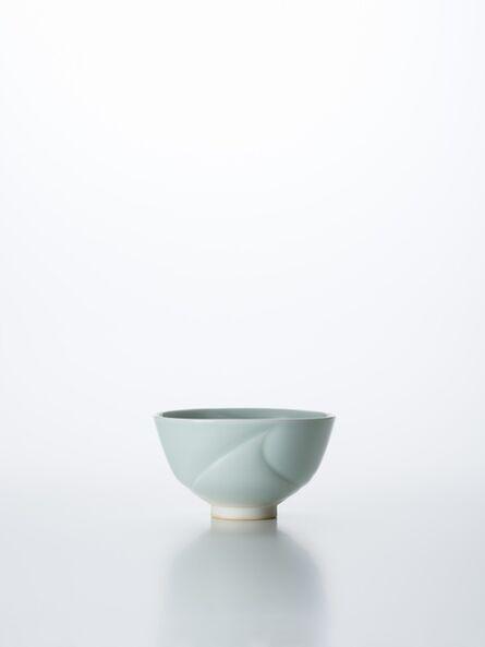 Peter Mark Hamann, 'Sculpted Celadon Porcelain Tea Bowl with Wave Pattern', 2018