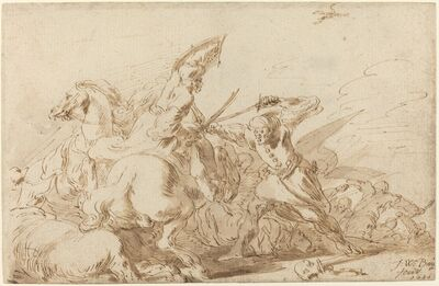 Johann Wilhelm Baur, 'A Battle between Oriental Cavalry and Soldiers', 1636