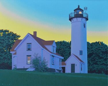 "Rob Brooks, '""West Chop"" photorealist oil painting of Martha's Vineyard Lighthouse at sunset', 2020"