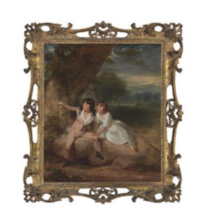 Circle of John Hoppner, 'The MacNamara Children, with Windsor Castle beyond'