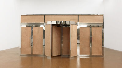 Xu Zhen 徐震, 'It Is More Particularly by Working upon This Imagination That Crowds Are Led., Material: Plywood, Stainless Steel Revolving Doors 《掌握了影响群众想像力的艺术,也就掌握了统治他们的艺术。》,材料:三夹板,不锈钢旋转门', 2012