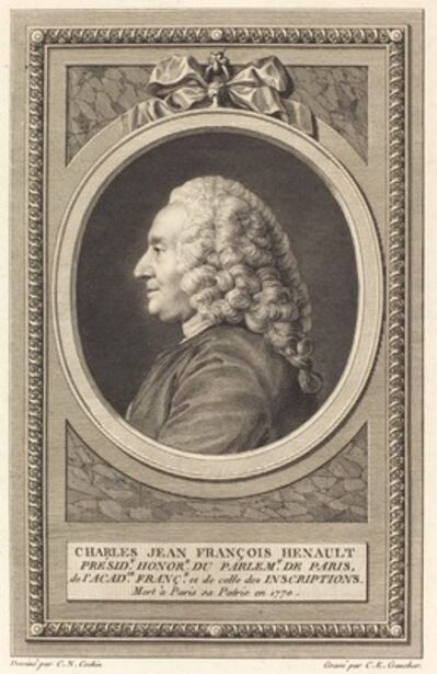Charles-Etienne Gaucher after Charles-Nicolas Cochin II, 'Charles Jean Francois Henault'