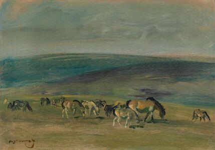 Alfred James Munnings, 'Ponies grazing on Exmoor ', ca. 1940s