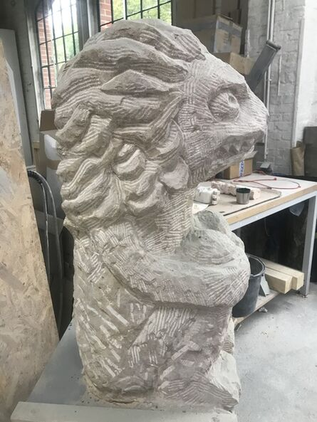 Stefan Rinck, 'Squatting Bavarian Lion_, 2020 Sandstone 80 x 33 x 44 cm_FotoCK', 2020