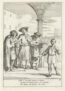 Gaetano Zompini, 'Fà ballar i Cani (Street Entertainer)', published 1753