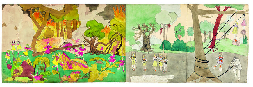 Henry Darger, 'Again running from forest flame (left), At Jennie Turner Vivian Girls being captured - Hanging scene (right)', 1910-1970