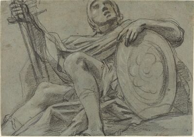 Giacomo Cavedone, 'Seated Warrior Holding a Sword and Shield [recto]', ca. 1612