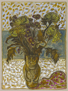 Billy Childish, 'chrysanthemums in June's pot', 2017
