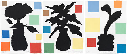 Donald Baechler, 'Abstract Composition with Flower I, II, and III', 2013