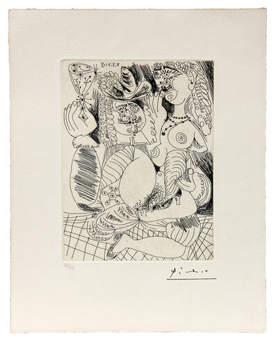 Pablo Picasso, 'Man Holding a glass with a naked lover', 1970-71