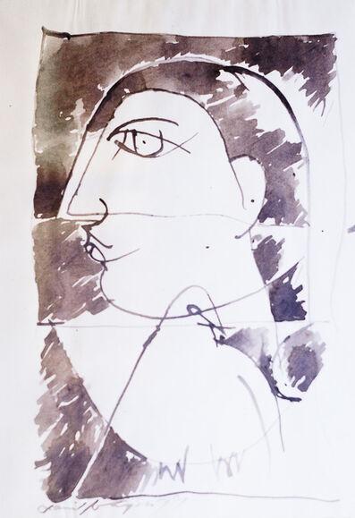 Jamil Naqsh, 'untitked - face & pigeon ', 1998