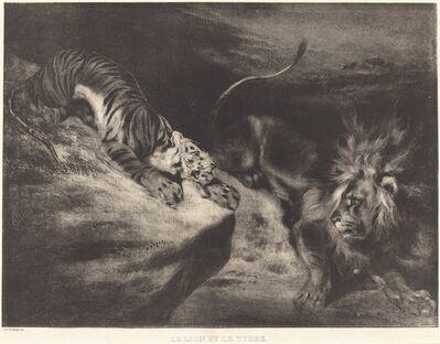 Louis-Candide Boulanger after Eugène Delacroix, 'Le Lion et le tigre', ca. 1830
