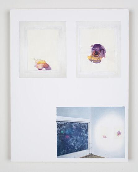 "Jesse Benson, 'Delusionarium 4 Catalog Page Painting 16 (Olga Balema, ""Untitled"", 2008, mixed media; Olga Balema, ""Untitled"", 2008, mixed media; Marlene Haring, ""It's All a Façade"", 2008, Nivea Crème on gallery windows)', 2013"