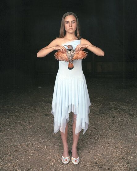 Laura McPhee, 'Mattie with a Northern Red-Shafted Flicker, in her Eighth Grade Graduation Dress, March 2005, Laverty Ranch, Idaho 5/5'