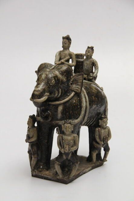 Unknown Artist, 'Elephant figurine with riders in brown glaze', ca. 14th-16th century