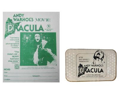 "Andy Warhol, '2 PIECE LOT- ""Andy Warhol's DRACULA"", 1974, BANDAGE Film Promotion Giveaway, & Handbill RARE', 1974"