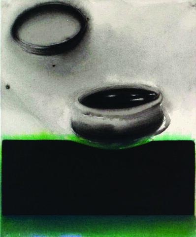 "Madhu Basu, 'Magma n°143, Acrylic & Pigment on canvas, Black, Green, Grey ""In Stock""', 2019"