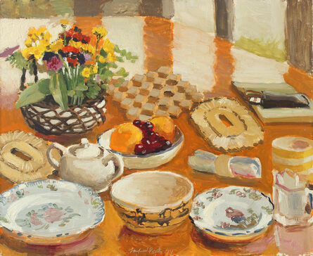 Fairfield Porter, 'Field Flowers, Fruit and Dishes', 1974