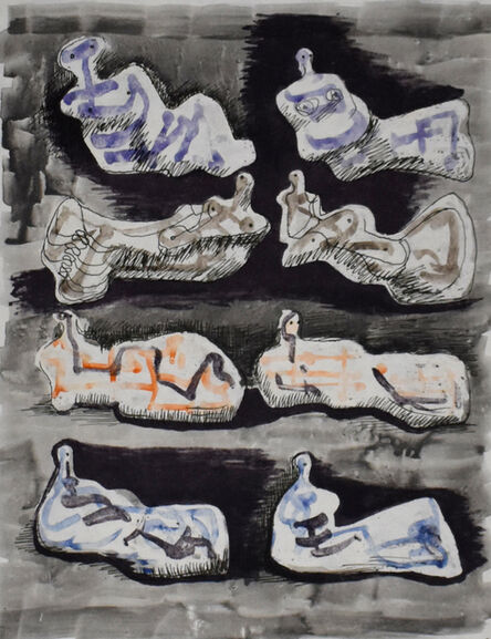 Henry Moore, ' Eight Reclining Figures I, from: Meditations on the Effigy', 1966/67