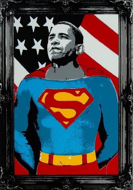 Mr. Brainwash, 'Obama Superman (Silver)', 2008