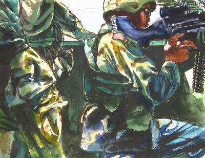 Steve Mumford, '12B2 Spc. Ronald Camp with a machine gun, crouched in the 113, Baquba, June, 2004', 2004